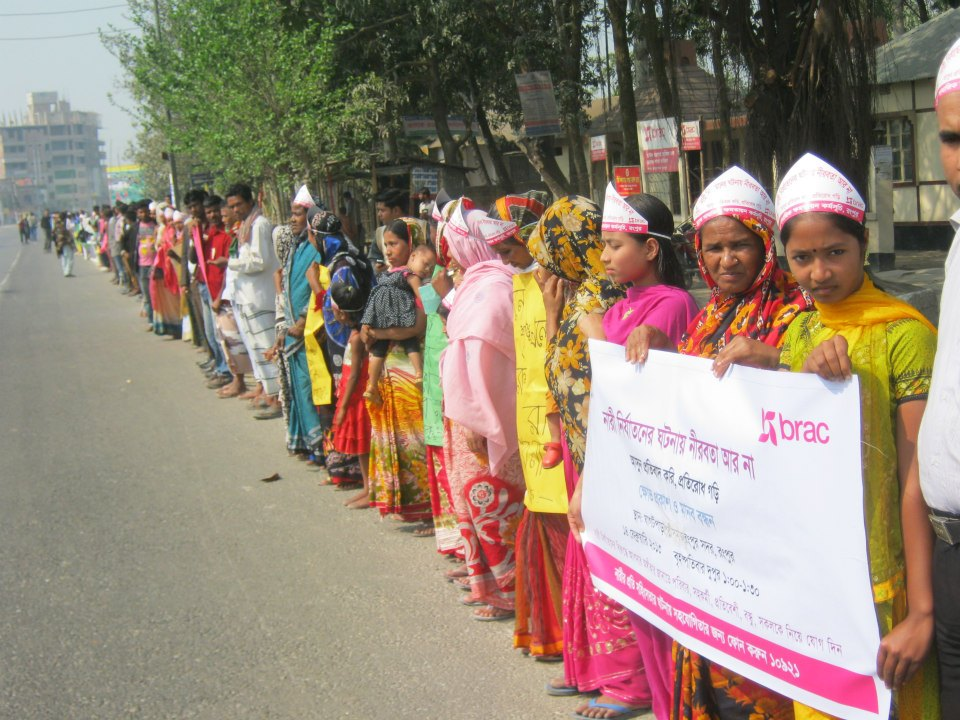 BRAC staff, promoters, volunteers, family members and friends in Rangpur, Bangladesh, participating in the One Billion Rising demonstrations against gender-based violence, earlier this year.