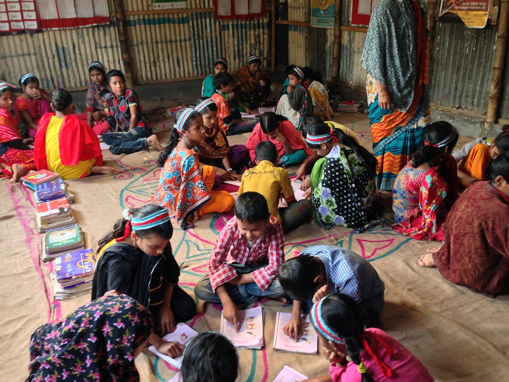 In session at a BRAC Primary School in the Korail slum of Dhaka, Bangladesh.