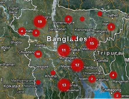 A crowdsourced map of BRAC's participation in One Billion Rising, in BRAC's home country of Bangladesh.