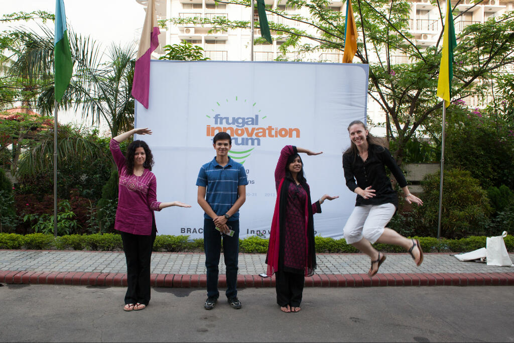 The BRAC Social Innovation Lab team (l-r): Amanda Misiti, Ishtiaque Hussain, Tasmia Rahman, and Maria May.