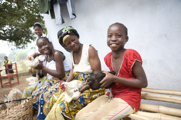 Elain Konah (seated, center) provides poultry vaccinations to her neighbors in Kakata, Liberia. (Photo: BRAC/Jake Lyell)