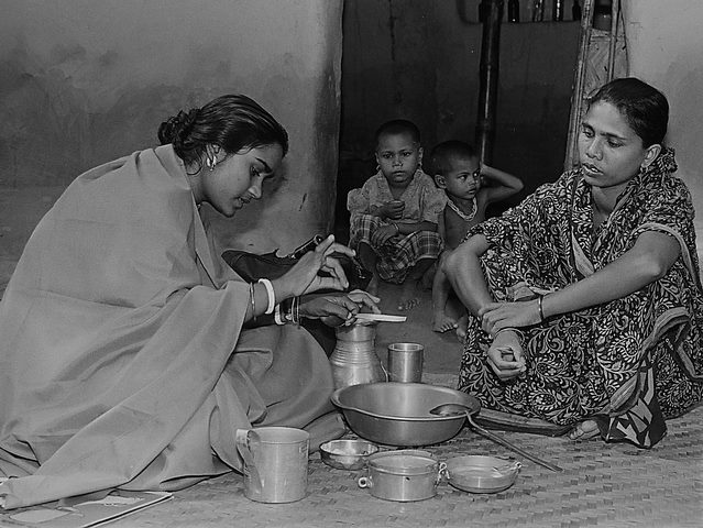 Starting in 1979, BRAC revolutionized the prevention of diarrhea (the leading cause of high child mortality in Bangladesh) by establishing its Oral Therapy Extension Program and reaching every household with the preparation of home made saline, as pictured above, c. 1979. (Photo: BRAC)