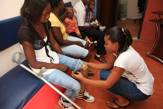 Patients at the BRAC Limb and Brace Center in Port-au-Prince
