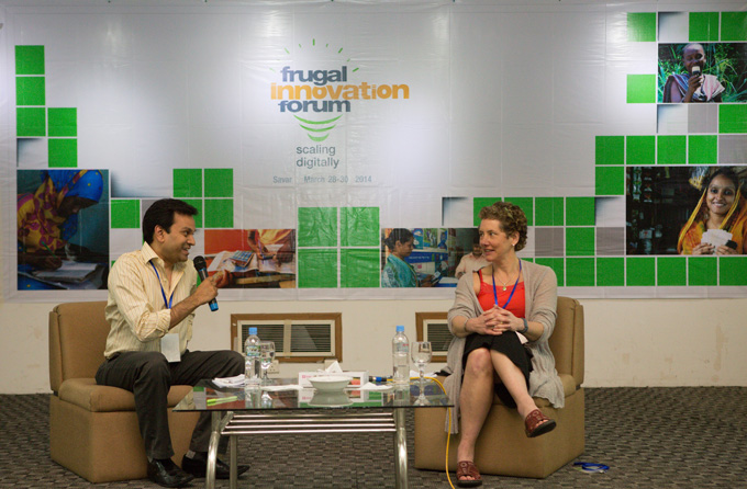 Senior Director Asif Saleh in conversation with Liz Kellison from the Bill & Melinda Gates Foundation during the fund's launch at the Frugal Innovation Forum 2014