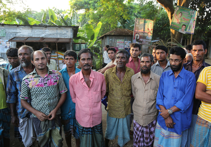 Tea stall Kaliganj -This is a group of men gathering at the tea stall while the hygiene education was going on