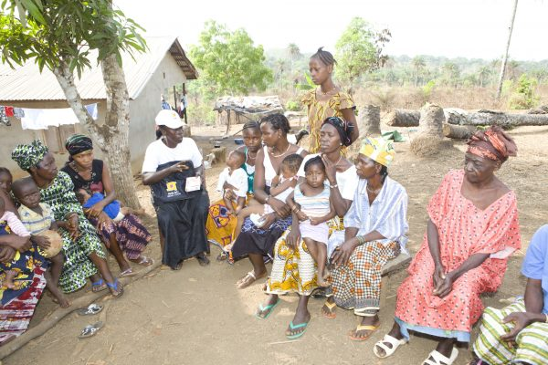 Community health worker, Rugiatu Benson conducts a health forum in Port Loko, Sierra Leone.