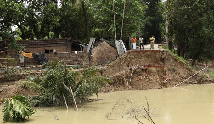 Flooding leaves behind broken road in Chakaria, Cox's Bazaar