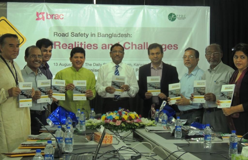 Attendees at the launching of a research report titled 'Road Safety in Bangladesh: Realities and Challenges' conducted by Power and Participation Research Centre and BRAC.