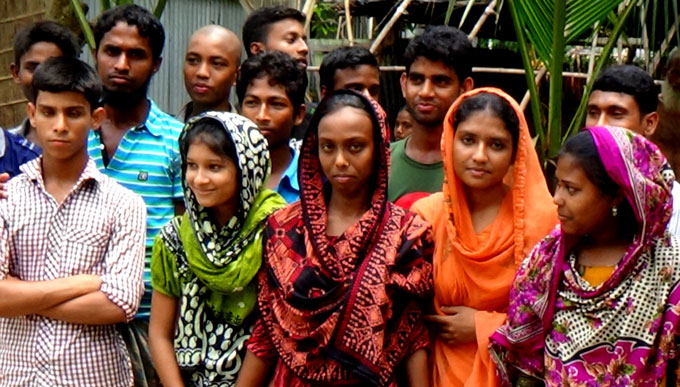 Members of an adolescent and youth committee in Pabna.