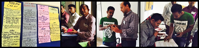 From left to right: a list of problems identified by the participants; a participant asking a question to the bKash agent; the agent addressing the problem of a participant; a participant opening a wallet with the help of the agent.