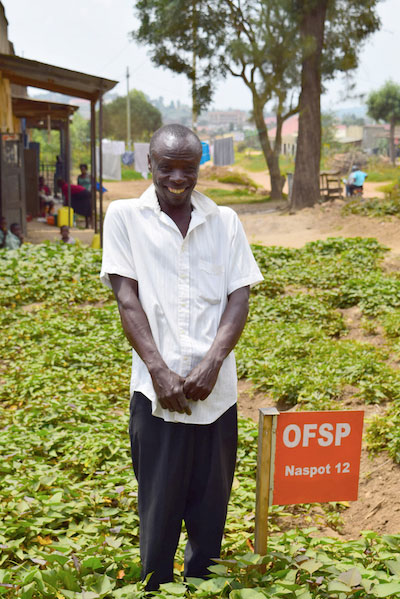 Raised by a family of farmers in Kabwohe, Uganda, Bekunda has been involved in agriculture his whole life. He formerly grew maize but switched to orange-fleshed sweet potatoes in September 2014. Photo: Eugenia Lee