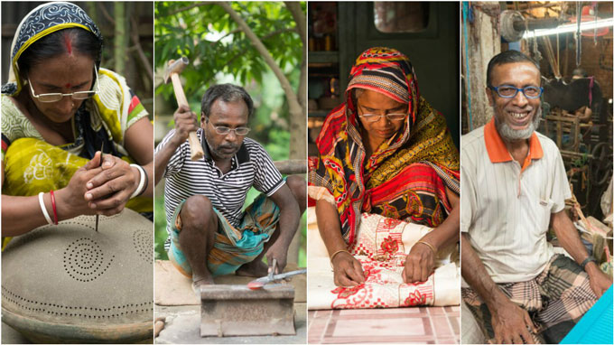 Our clients (from left): Ayesha Khatun, a skilled craftsperson; Bholanath Mandal, a blacksmith; Dipani Pal, a potter; Nurul Amin, a weaver.